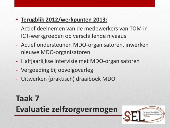 Terugblik 2012/werkpunten 2013:
