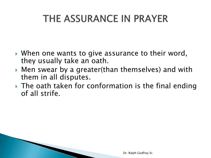 The assurance in prayer1
