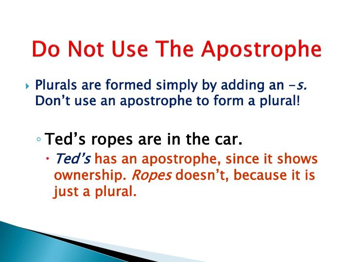 Do Not Use The Apostrophe