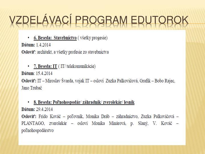 Vzdelávací program edutorok
