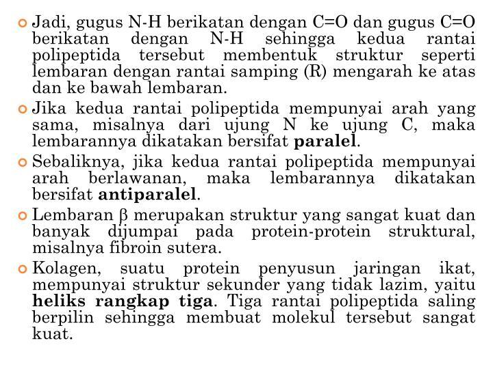 Jadi, gugus N-H berikatan dengan C=O dan gugus C=O berikatan dengan N-H sehingga kedua rantai polipeptida tersebut membentuk struktur seperti lembaran dengan rantai samping (R) mengarah ke atas dan ke bawah lembaran.