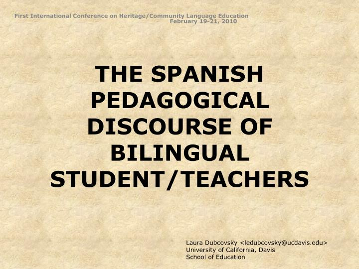 The spanish pedagogical discourse of bilingual student teachers