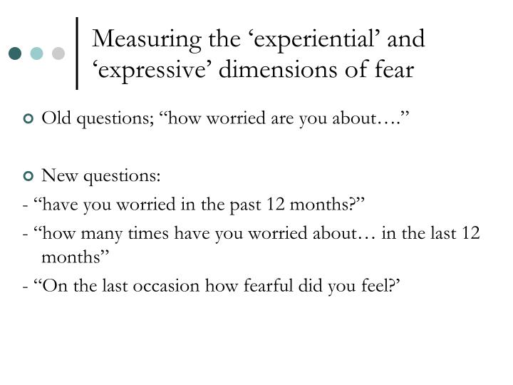 Measuring the 'experiential' and 'expressive' dimensions of fear