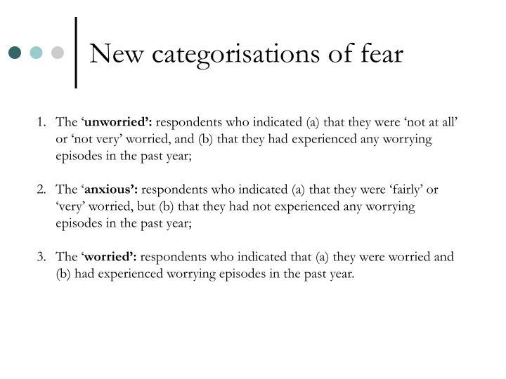 New categorisations of fear