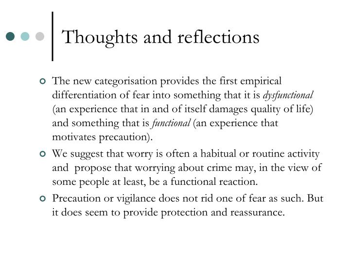 Thoughts and reflections