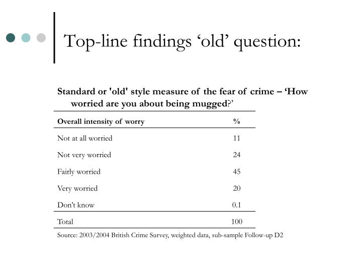 Top-line findings 'old' question: