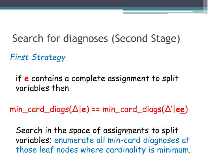 Search for diagnoses (Second Stage)