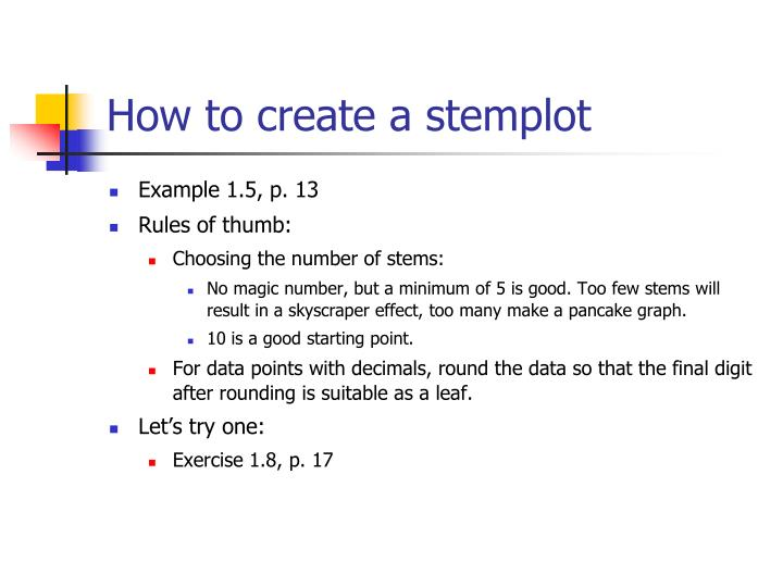How to create a stemplot