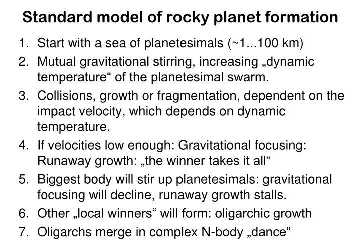 Standard model of rocky planet formation