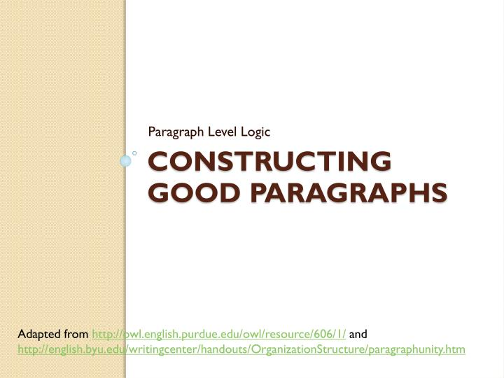 constructing good paragraphs n.