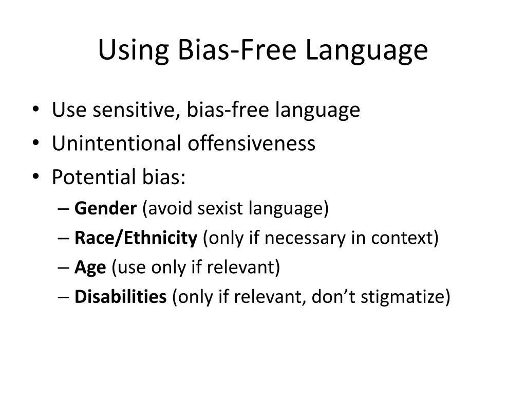 ppt using bias free language powerpoint presentation id 1979914