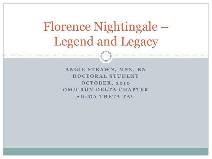 florence nightingale legend and legacy n.