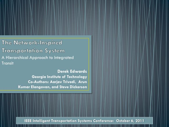 the network inspired transportation system n.
