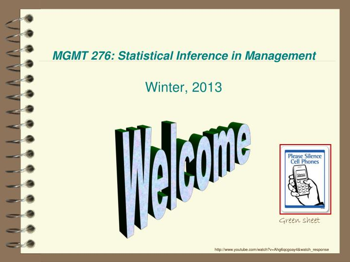 mgmt 276 statistical inference in management winter 2013 n.