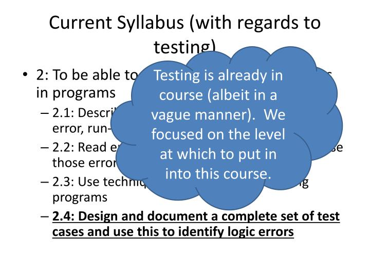 Current syllabus with regards to testing