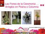 las flores de la ceremonia arreglos en peana o columna