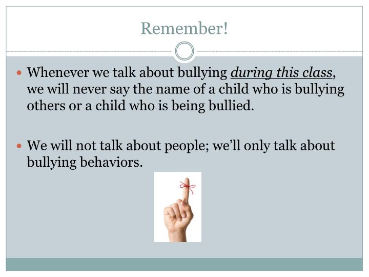 a talk to teachers about bullying Other times, the bullying is much too severe to risk speaking with a teacher directly if this is the case, ask to meet with the principal in person share your documentation and discuss your concerns.