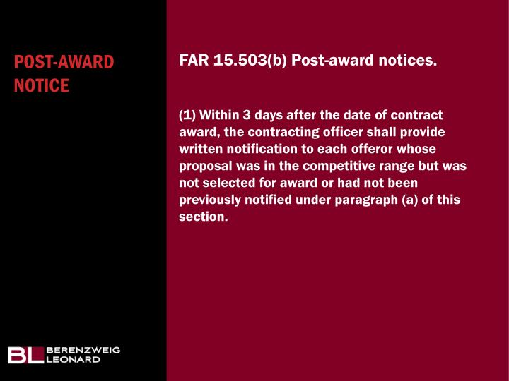 Post-award notice