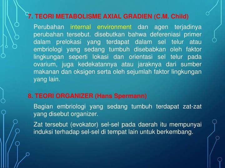 7. TEORI METABOLISME AXIAL GRADIEN (C.M. Child)