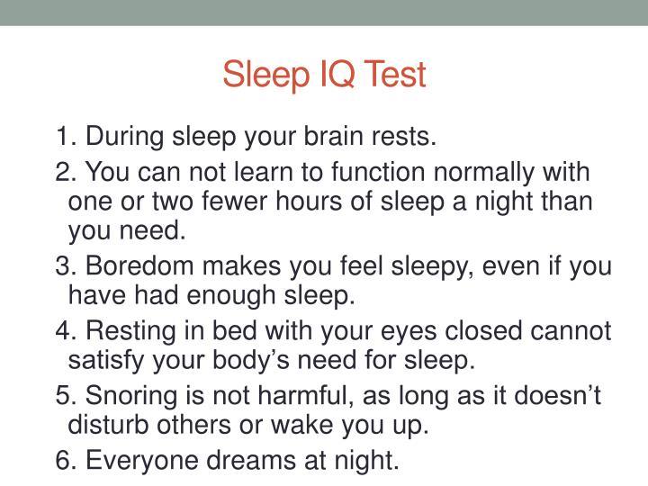 Sleep IQ Test