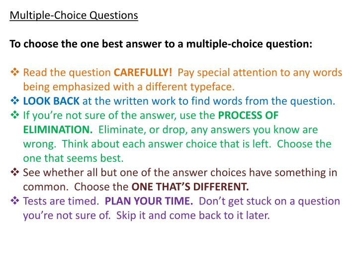 multiple choice questions choose the best