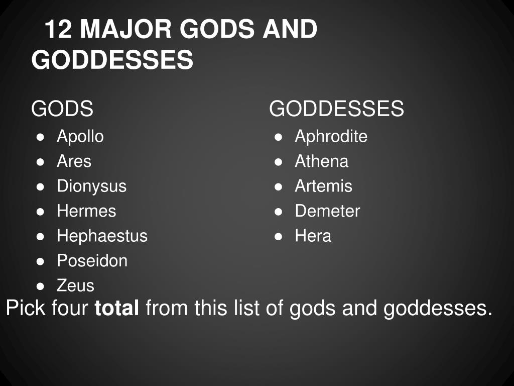 PPT - Major Greek gods and goddesses PowerPoint Presentation