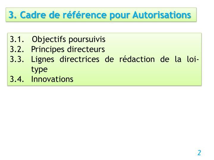 3. Cadre de référence pour Autorisations