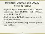 instances dodags and dodag versions cont