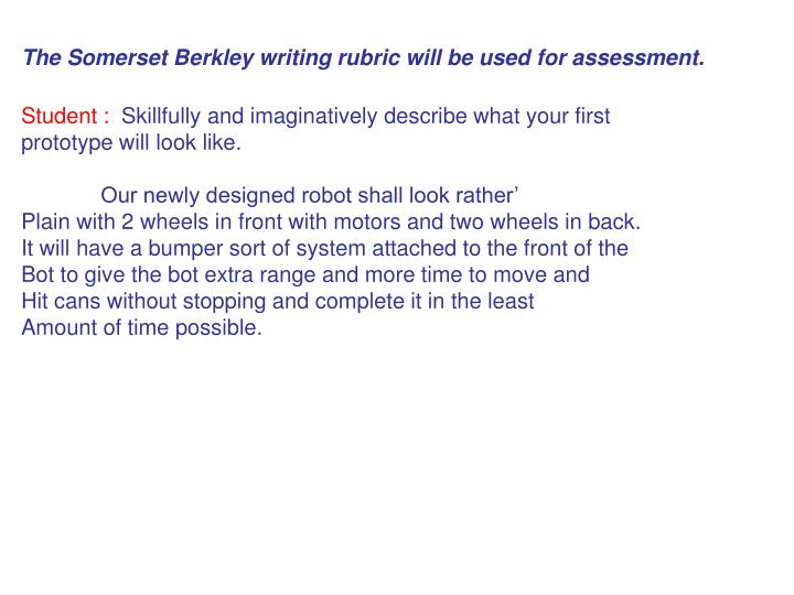 The Somerset Berkley writing rubric will be used for assessment.