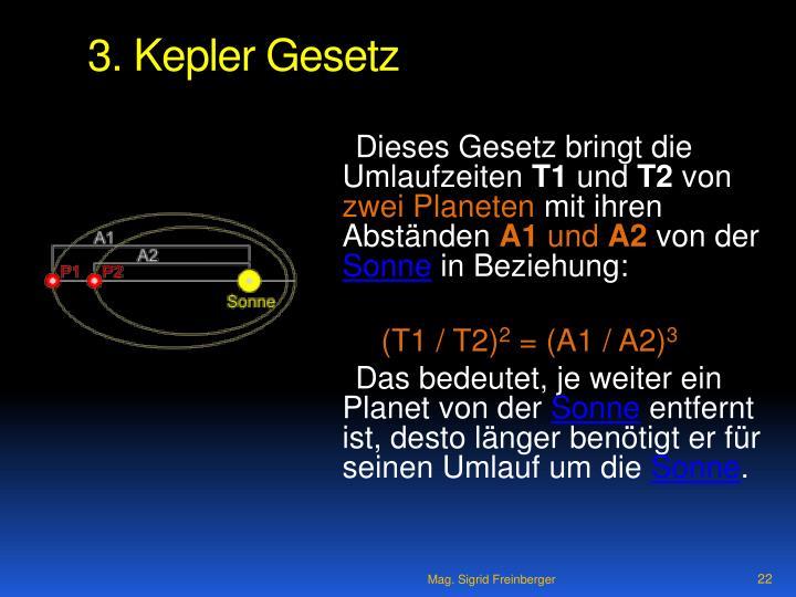 3. Kepler Gesetz