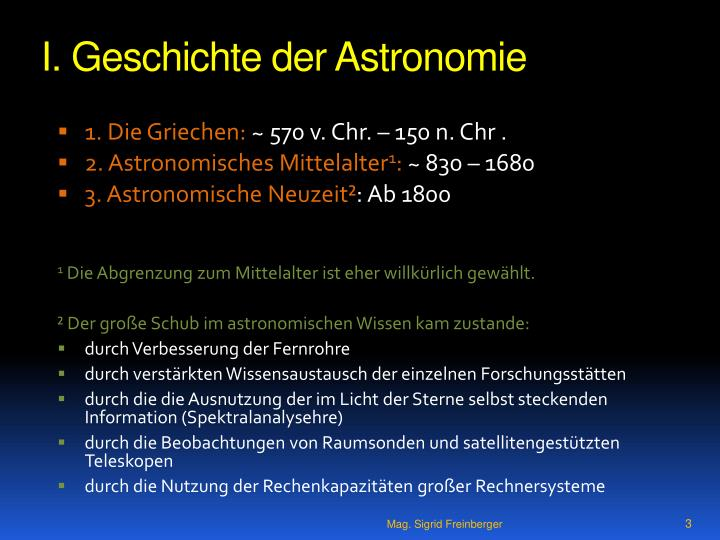 I geschichte der astronomie
