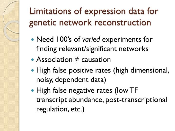 Limitations of expression data for genetic network reconstruction
