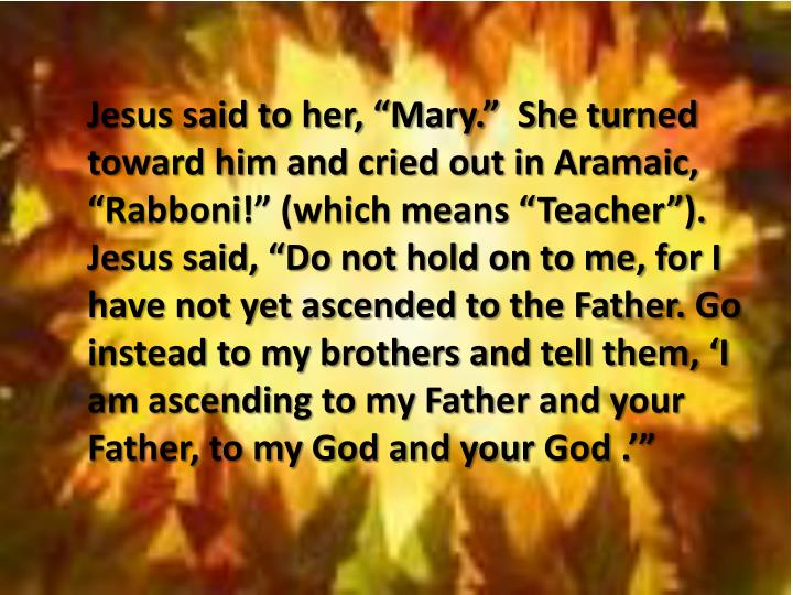 """Jesus said to her, """"Mary.""""  She turned toward him and cried out in Aramaic, """""""