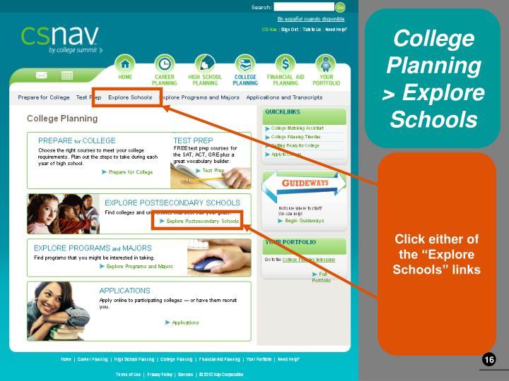 College Planning > Explore Schools
