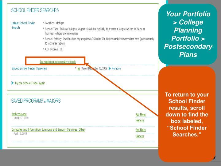 Your Portfolio > College Planning Portfolio > Postsecondary Plans