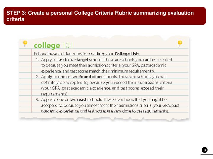 STEP 3: Create a personal College Criteria Rubric summarizing evaluation criteria