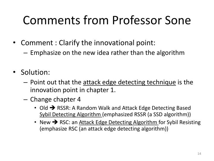 Comments from Professor