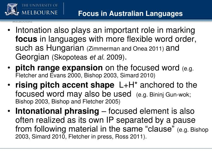 Focus in Australian Languages