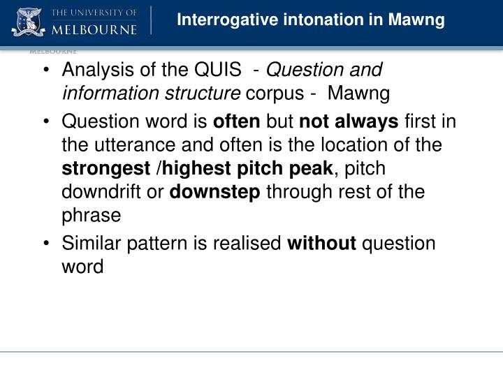 Interrogative intonation in