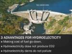 3 advantages for hydroelecticity