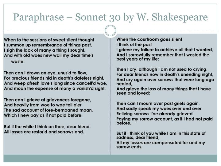 """shakespeare sonnet 30 essay Order description poem 1a journal response is an informal response to a reading assignment 2your reactions to what you have read 3you may respond to a character, an idea, or the language the author has used 4perhaps what you have read will remind you of something that has happened to you or someone you know continue reading william shakespeare, """"sonnet 128 custom essay."""