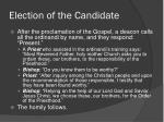 election of the candidate