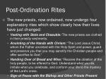 post ordination rites