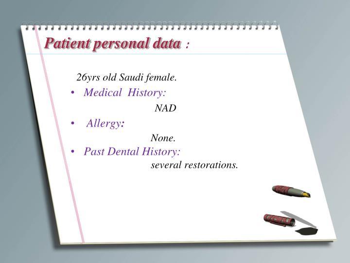 Patient personal data