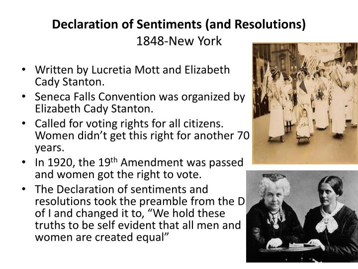 the declaration of sentiments and resolutions Declaration of sentiments by elizabeth cady stanton declaration of sentiments: the declaration of sentiments by elizabeth cady stanton.