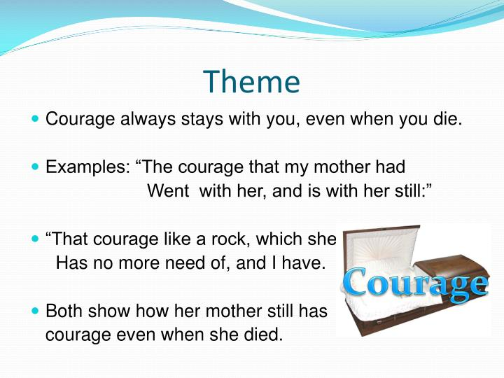 the courage that my mother had essay The courage that my mother had went with 1 log in join now 1 log in join now high school english 5 points which lines from the courage that my mother had contain a simile the courage that my mother had went with her, and is with her still:  baldwins essay is about the triumph of the human spirit explain answer english 5 points.