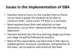 issues in the implementation of gba1