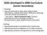 skills developed in 2006 curriculum junior secondary