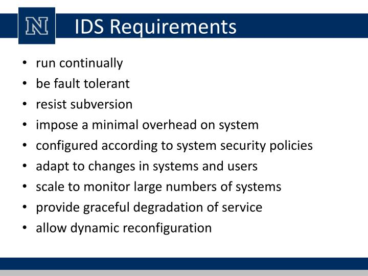 IDS Requirements