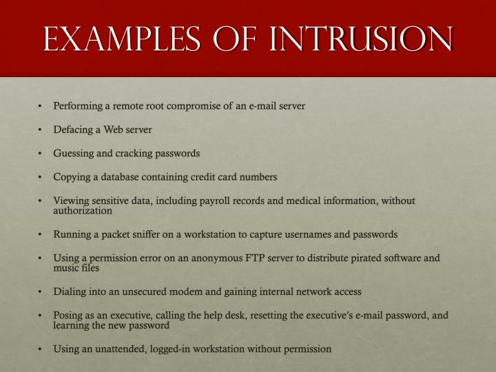 Examples of Intrusion